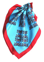 Blue Horse Corsage Design with Red Border, 45cm Square