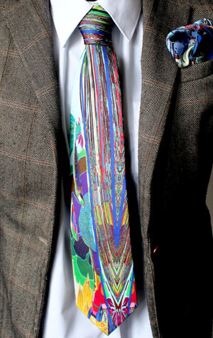 Blue Abstract Design, 100% Silk Twill Tie