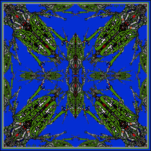 Blue /Green Beetle, 100% Silk Scarf