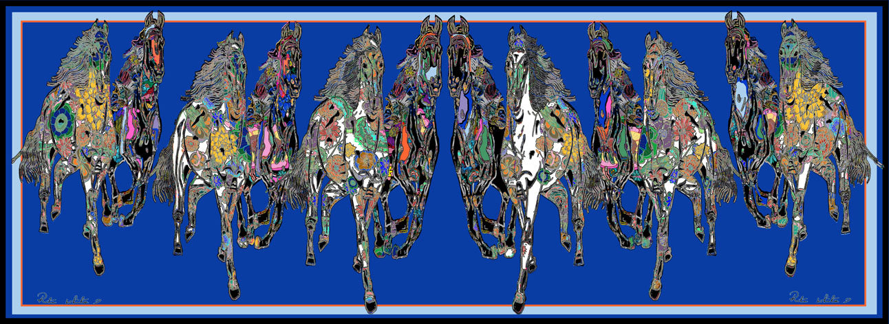 New Galloping Horses In Blue