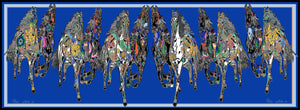 New Galloping Horses In Blue Silk