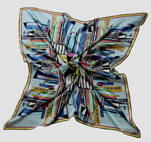 'Cottage in the city',100% Silk Scarf, 100cm Square