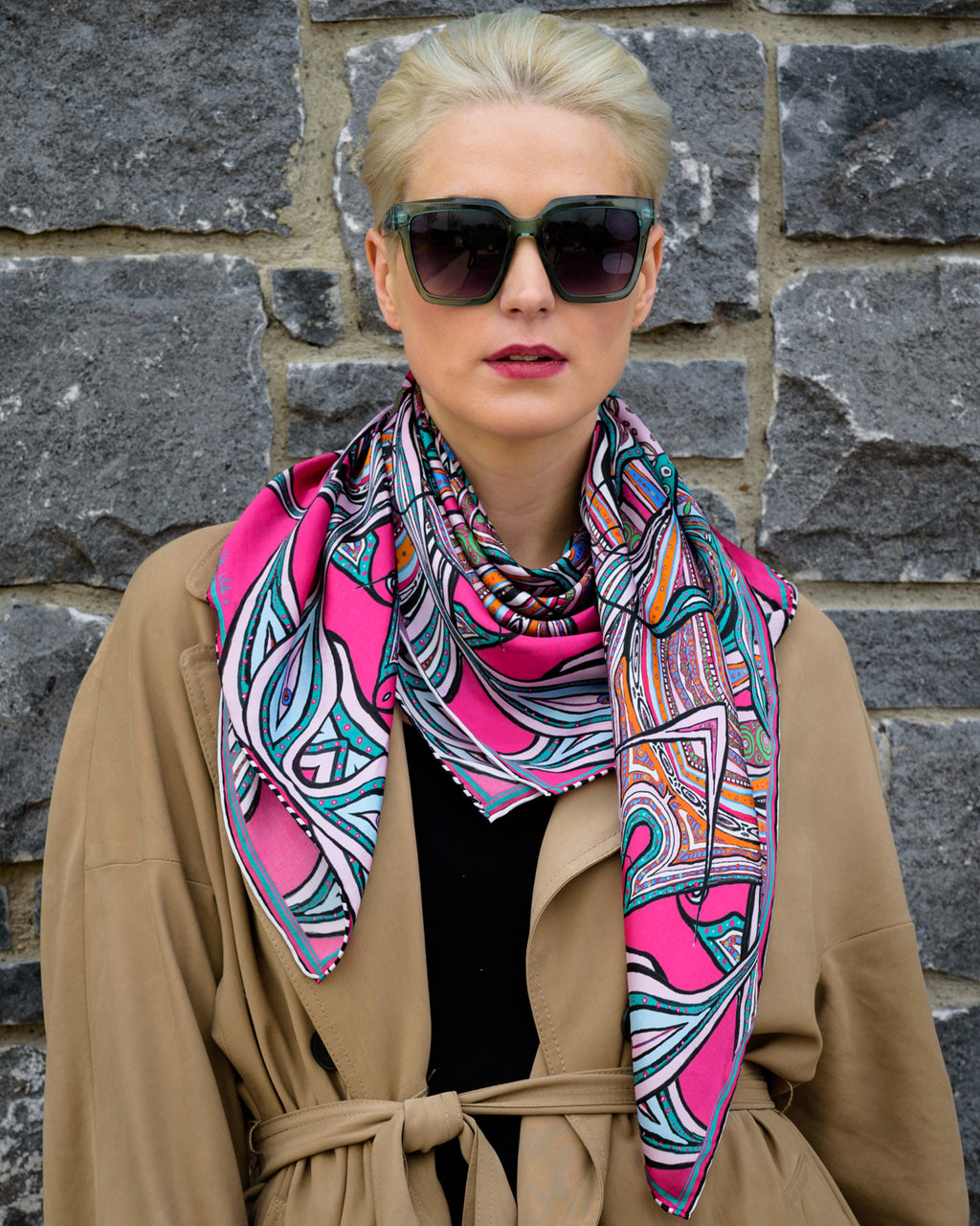 exotic birds silkscarf irish fashion print designer rita white
