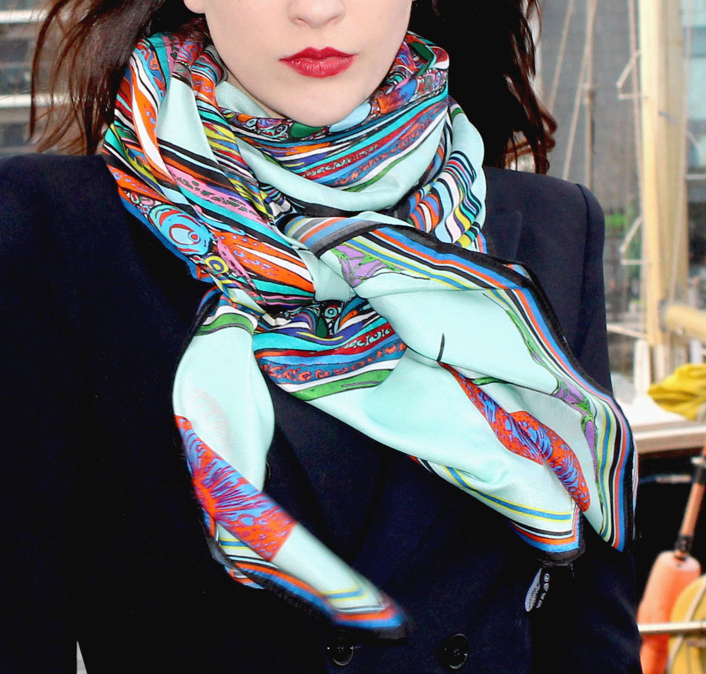 bowing birds-cotton/silk large-scarf-ritawhite designer