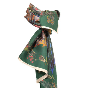 The Proud Peacock in Green. Long Silk Scarves