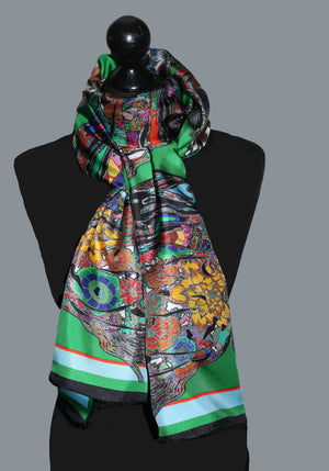 Galloping Horses in Emerald Green. Long Silk Scarves