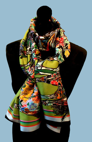 Galloping Horses In Green Long Silk Scarf
