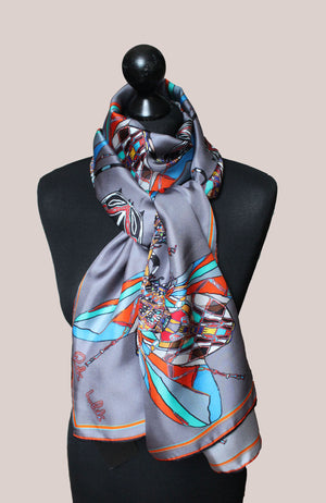 Grey Funky Fly Design,100% Silk Twill, Long Rectangular Scarf