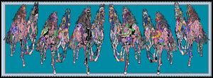 Horse Gallop in Blue, Small Long Silk Scarf
