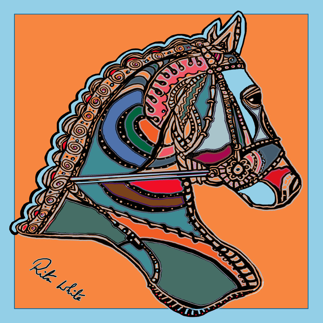 Horse Dressage in Orange, 45cm Square