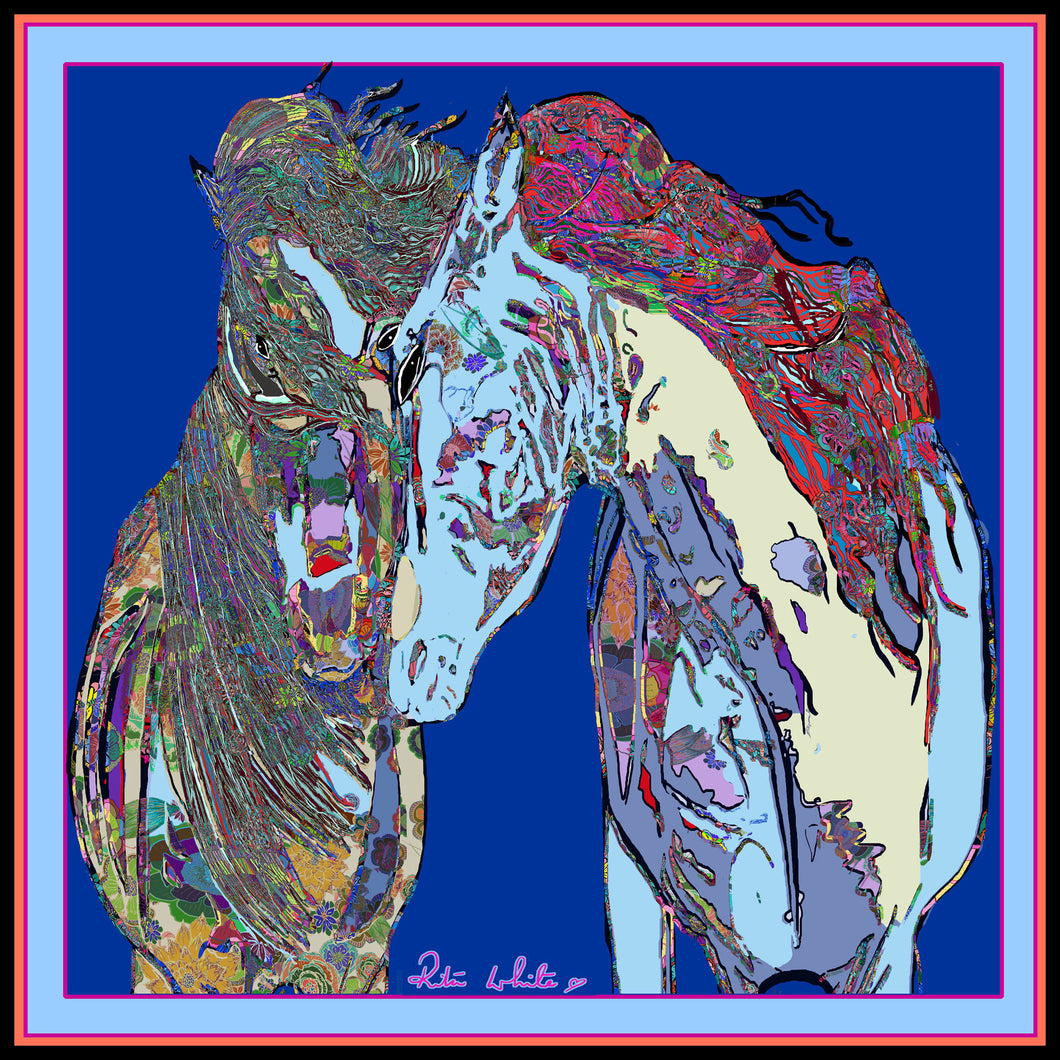 Horses in Love, Blue, 45cm Square