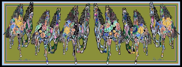 Galloping Horses In Green