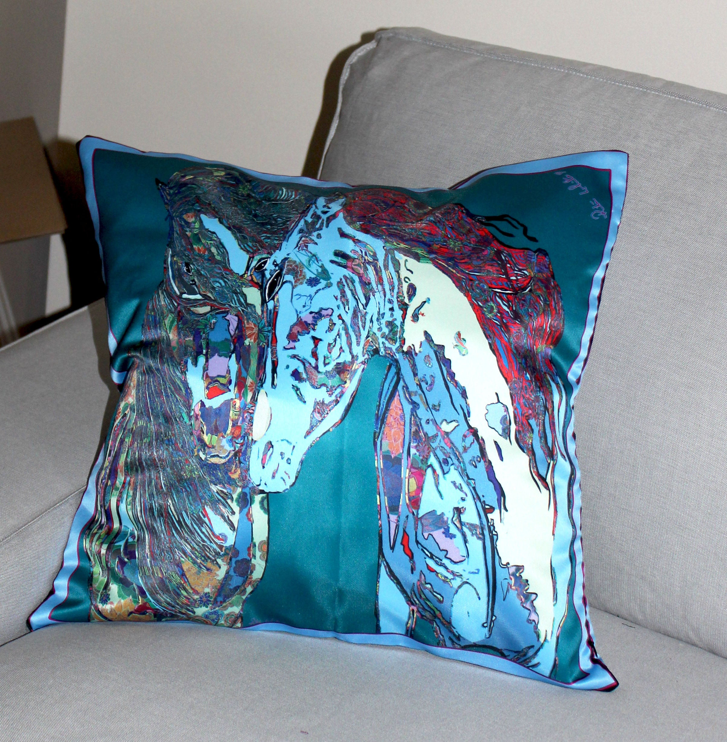 Aquamarine Horses in Love Cushion