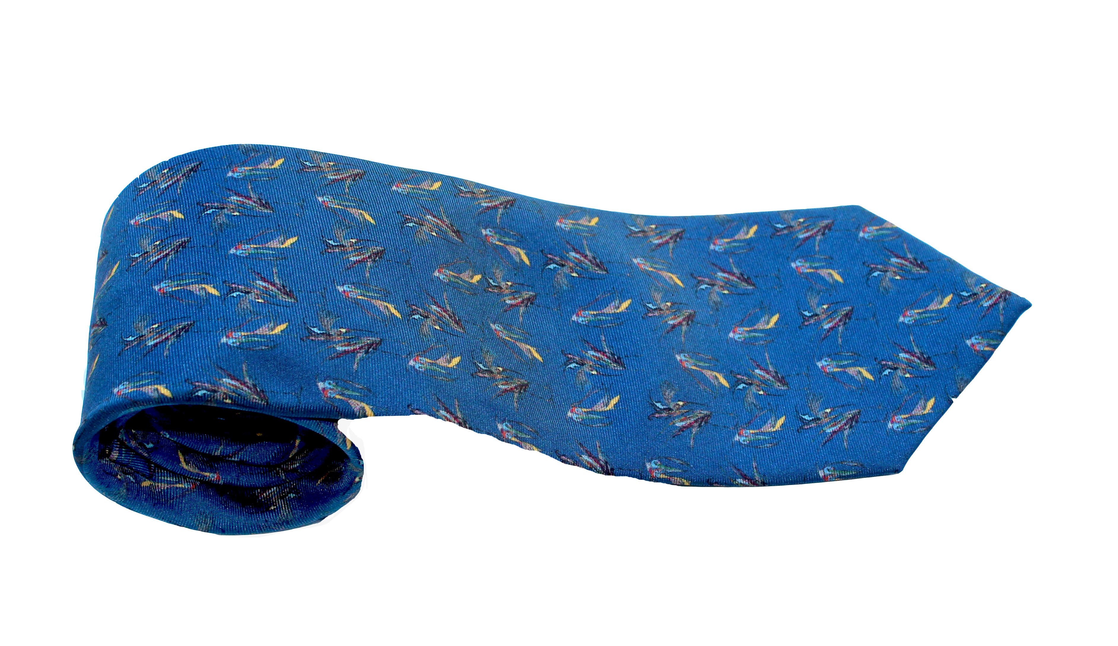 100% Silk Twill Tie in Navy Birds Pattern