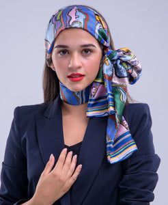 Navy Coral Heart, Silk Twilly Scarf