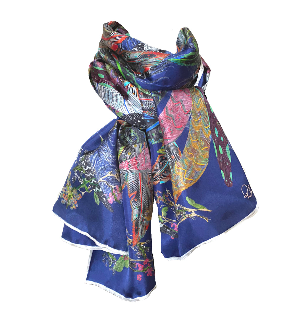 The Proud Peacock in Navy. Long Silk Scarves