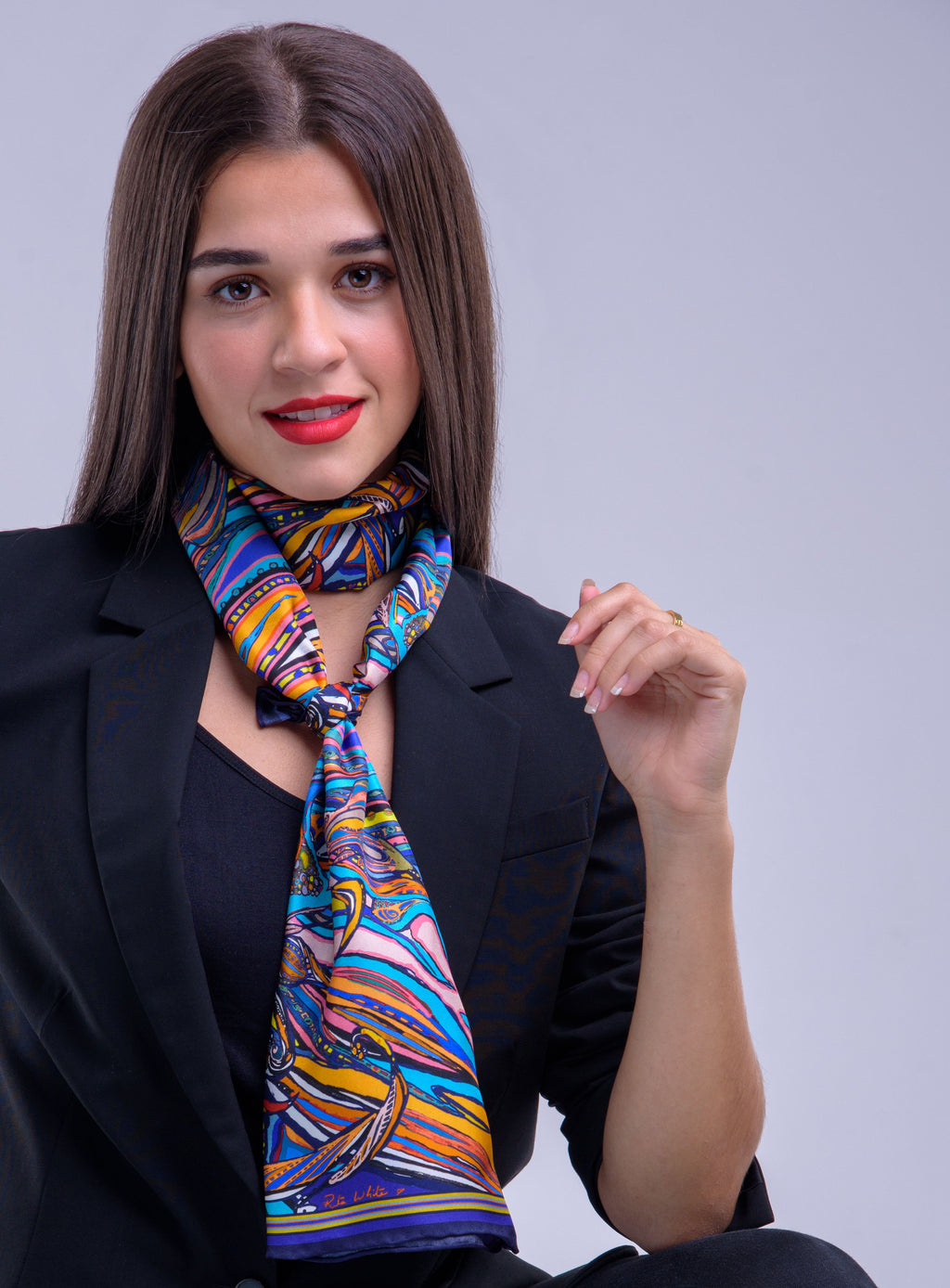 Navy Flame  Print, Silk Twilly Scarf