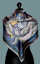 Navy Coral Heart, Large Square, 100% Silk Scarf