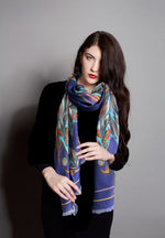 Navy Flame 100% Wool Long Scarf