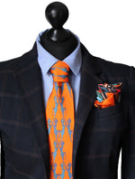 Orange Horse Dance, 100% Silk Twill Tie