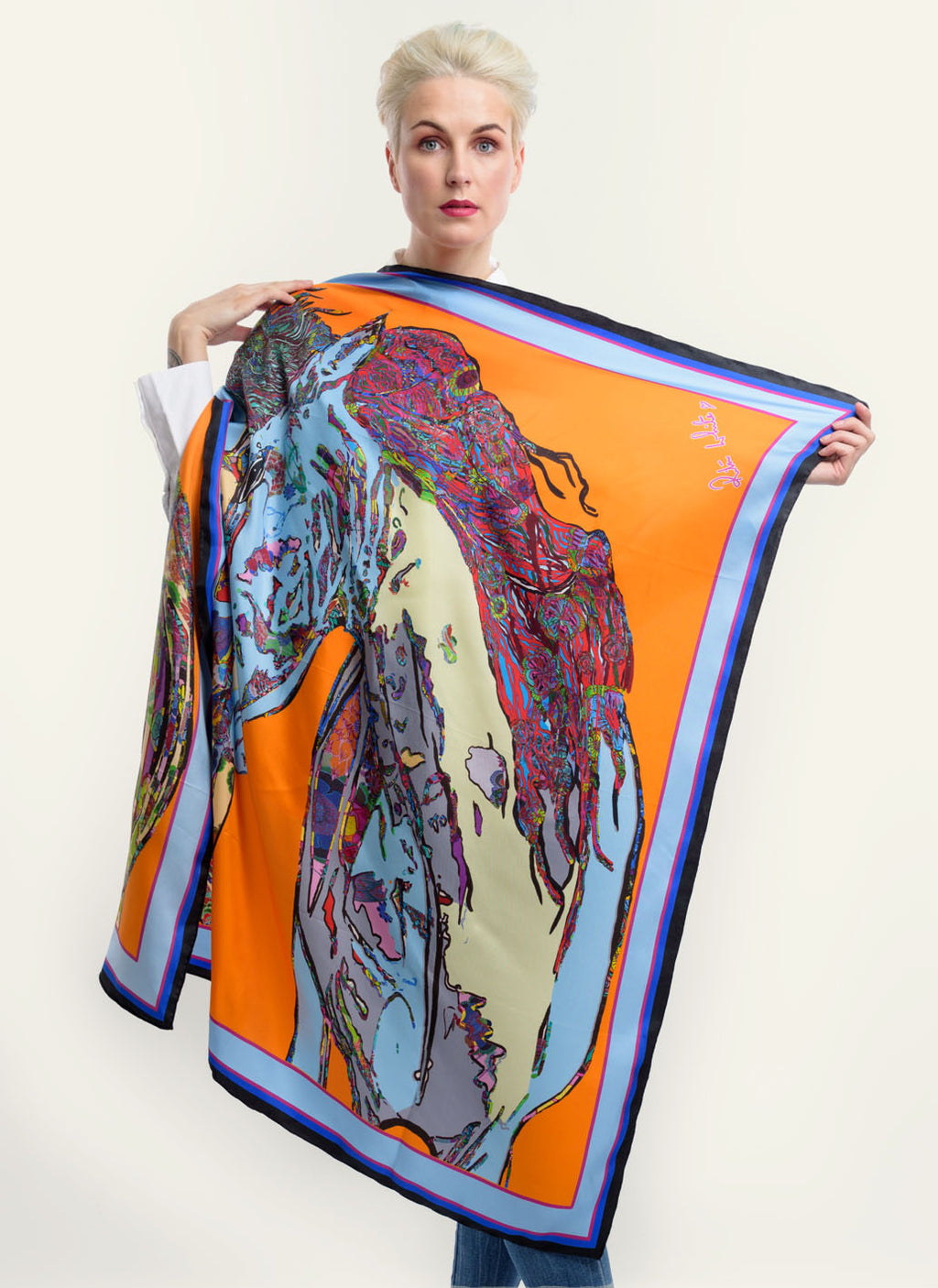 Horses in Love in Orange, 100% Silk Twill, 110cm Square