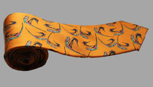 100% Silk Tie in Gold Birds Pattern RITAWHITE