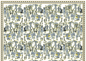 Yellow People Watching, 100% Silk Twill, Long Rectangular Scarf