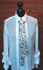 100% Silk Twill Tie, People Watching Print