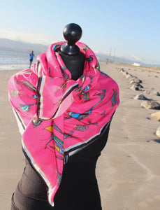 'Pink Birds,Wearing Shoes' in Cotton/Silk Scarf.