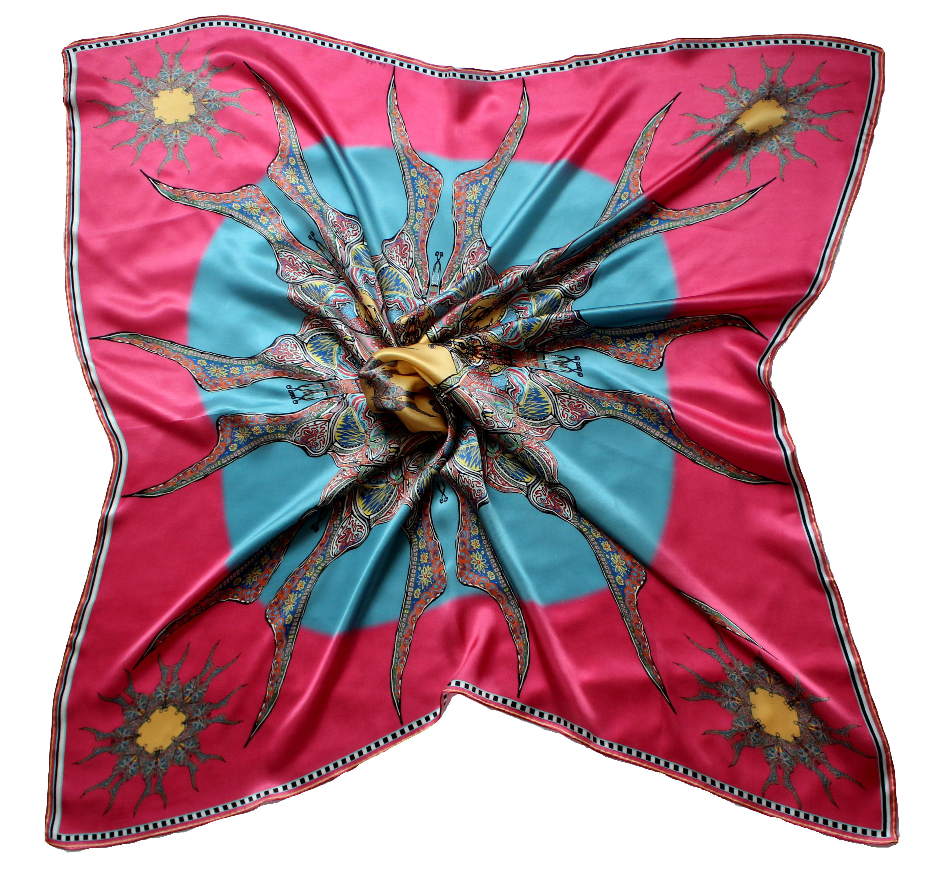 Blue/Pink, Butterfly Circle, 100% Satin Silk, 110cm Square