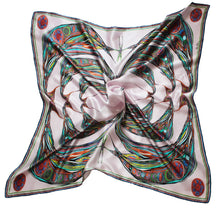 Bowing Birds Design in Pink, 100% Satin Silk, 100cm Square
