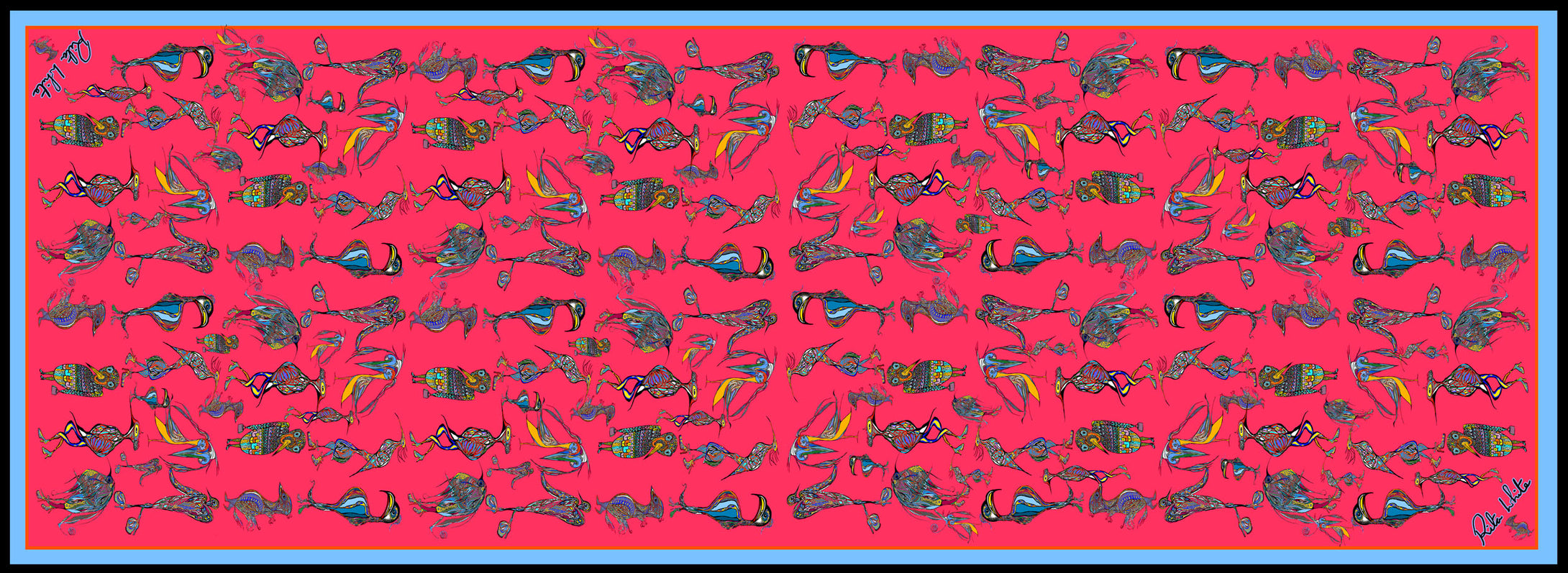 Red Birds Wearing Shoes, 100% Silk Twill, Long Rectangular Scarf