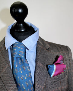 100% Silk Tie in Navy Birds Pattern  RITAWHITE
