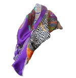 Proud Peacock Feathers in Purple, 100% Silk Scarf