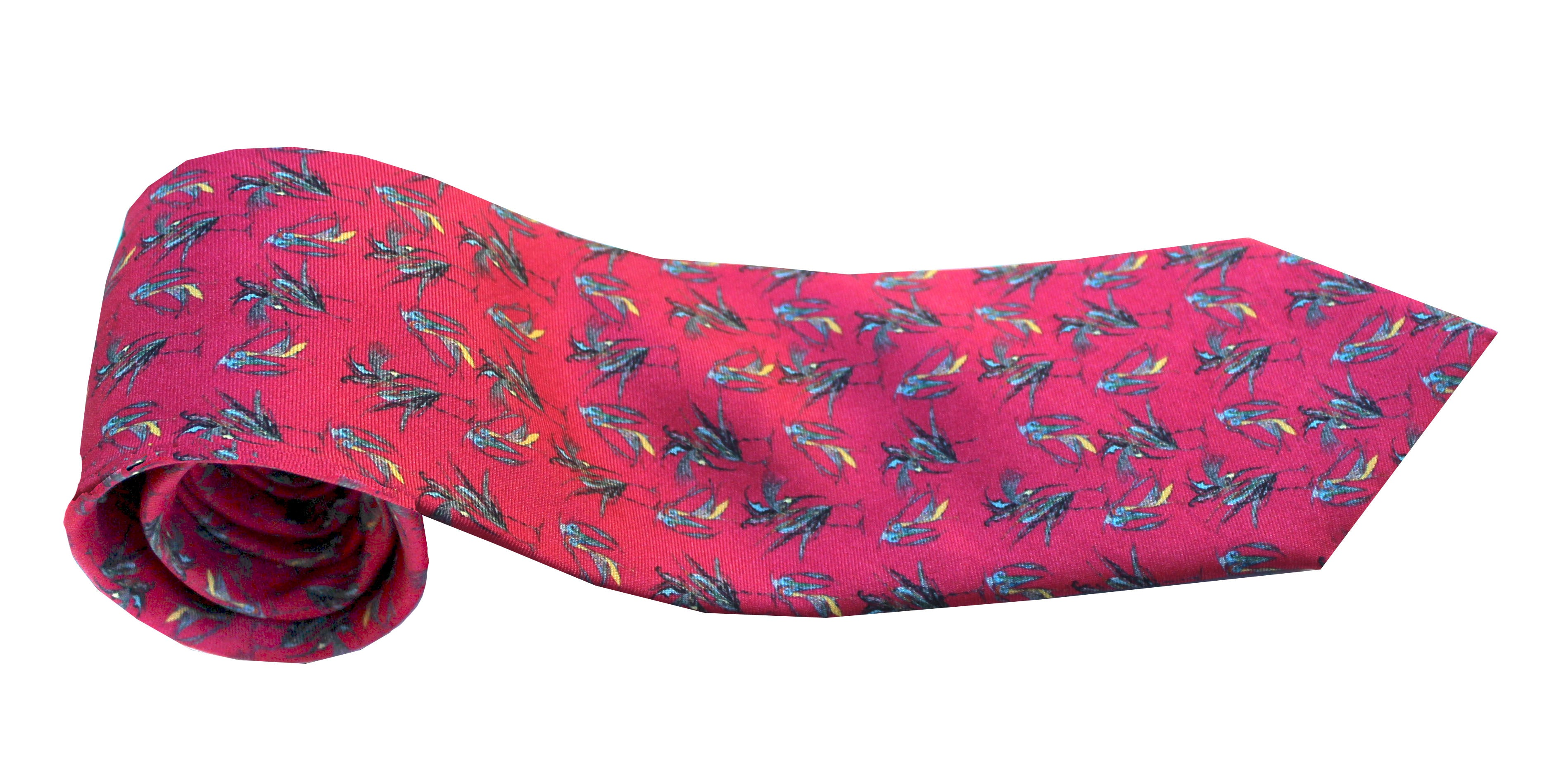 100% Silk Twill Tie in a Red Bird Pattern