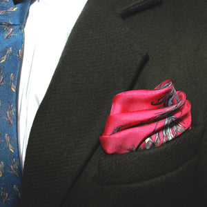 100% Silk Pocket Square in Red Birds Pattern  RITAWHITE