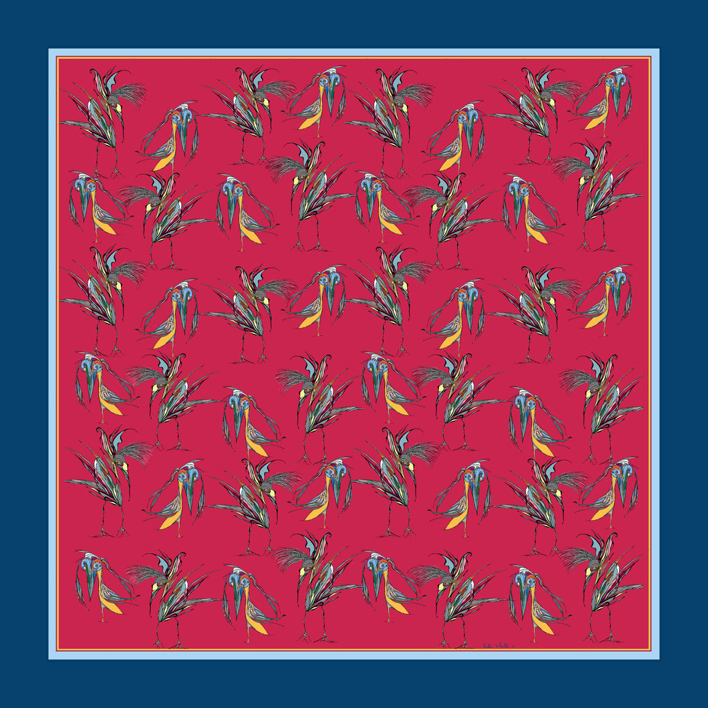 100% Silk Pocket Square in Red Birds Pattern