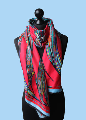 Red Bowing Birds, 100% Silk Twill, Long Rectangular Scarf