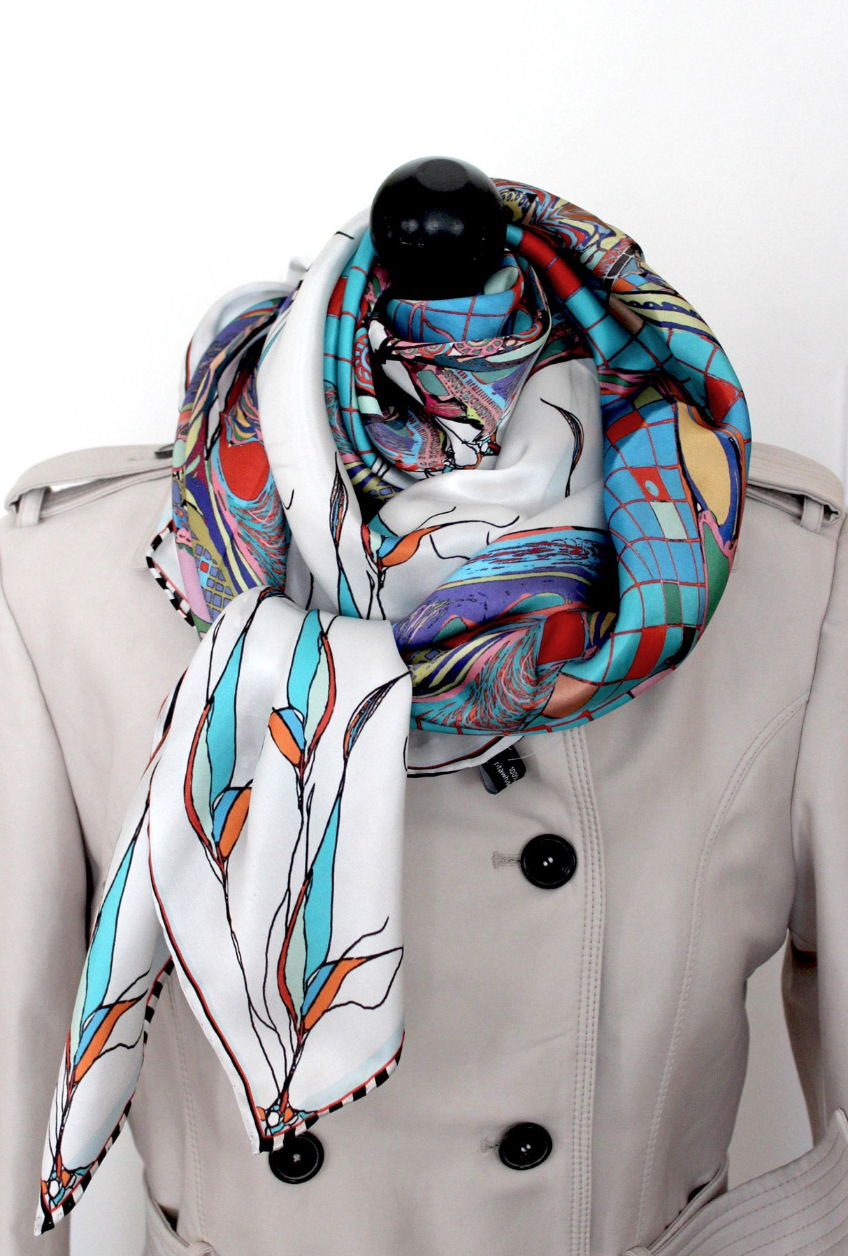 teal silk scarf rita white irish print fashion designer