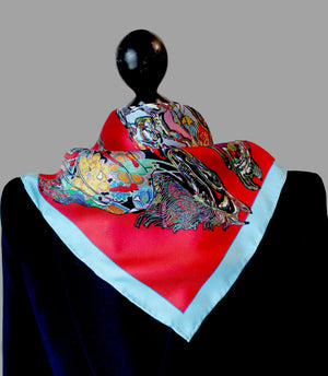 Horse Gallop, Red Neckerchief/Pocket Square, 45cm Square