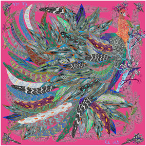 Proud Peacock Feathers in Pink, 100% Silk Scarf