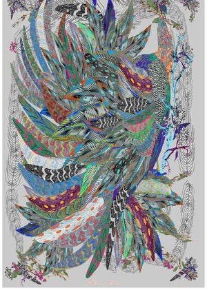 The Proud Peacock in Grey. Long Silk Scarves