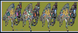 The Gallop in Green, Small Long Silk Scarf