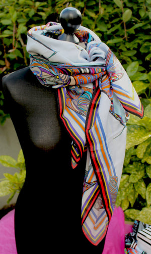 Large Fishing Bird Spell Cotton/Silk Scarf-designer rita white