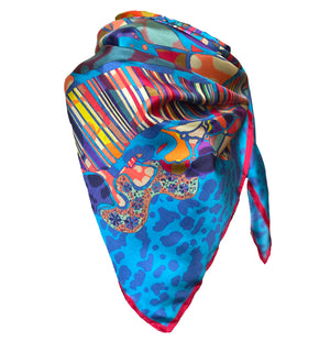 Meditate Tiger Print Blue, 100% Silk Scarf