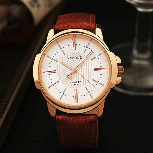 business leather golden watches