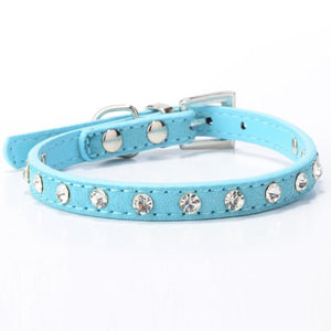 Faux Leather and Rhinestone Dog Collar Necklace