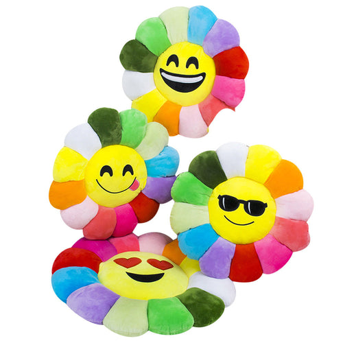 Super Soft Multi-Coloured Emoji Cat Cushion