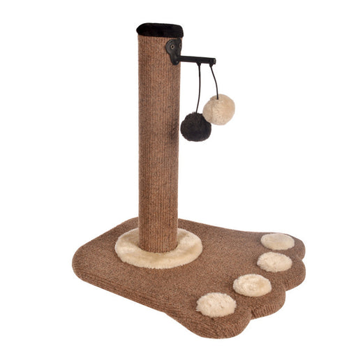 Paw Print Cat Scratching Post with x2 Play Ball Toys