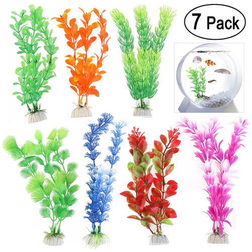 Pack of 7 Plastic Aquarium Plants